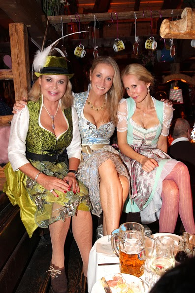 Editor in chief of Neue Woche Tessy Pavelkova, Renata Kochta and Princess Nadja zu Schaumburg - Lippe during Oktoberfest at Kaeferzetl/Theresienwiese on 05.10.2014 in Munich, Germany.
