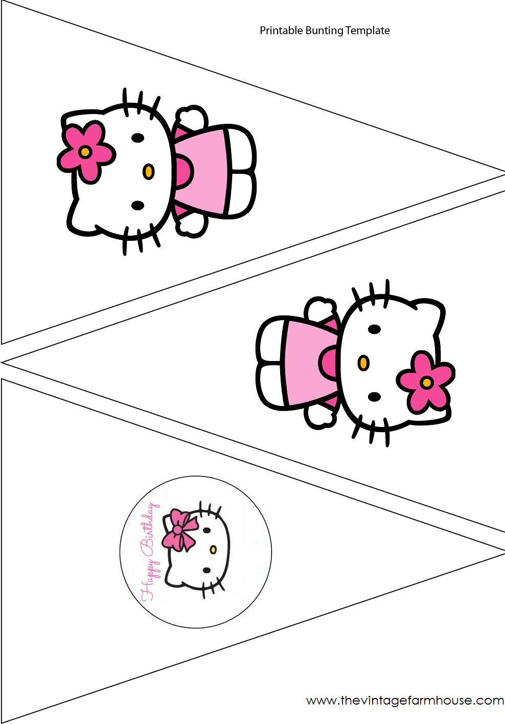 hello kitty cupcake topper template - the vintage farmhouse hello kitty party free printables