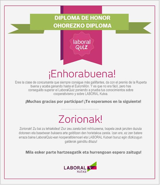 Diploma de honor de Laboralquiz