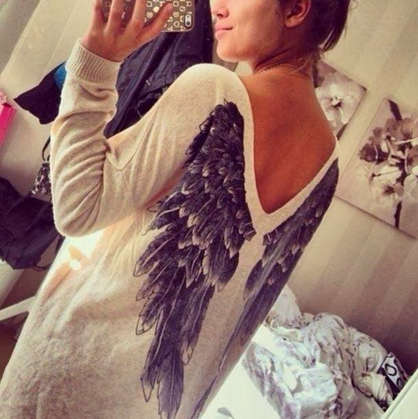 Amazing Angel Wings on Back Oversized Sweater for Ladies