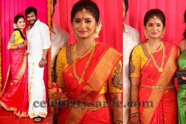 Reshmi Menon Engagement Saree