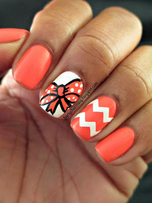 Color Club In Theory, coral, bow, chevron, accent nail, cute, girly, pink and white, nails, nail art, nail design, mani