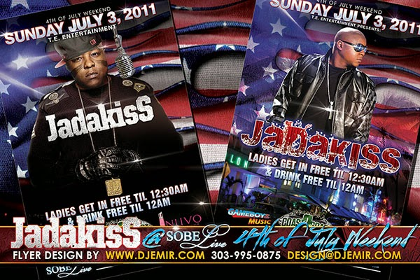 Flyer design for Independence Day 4th of July Weekend Jadakiss Concert at Sobe Live Miami