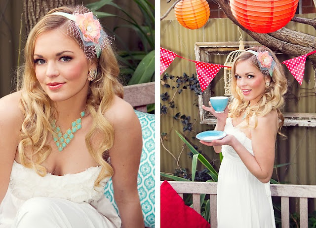 Mint & Rose Bridal Headband - Wedding Tea party