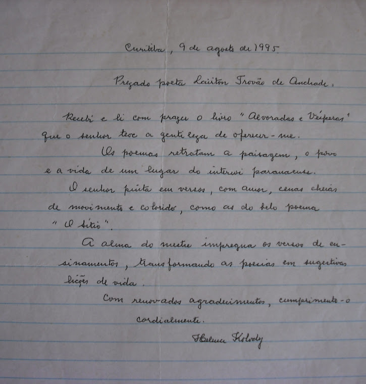 Helena Kolody para o escritor Lairton Trovão de Andrade