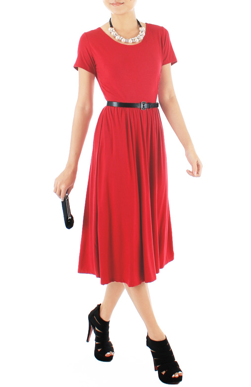 Prudence Midi Skater Dress – Cherry Red