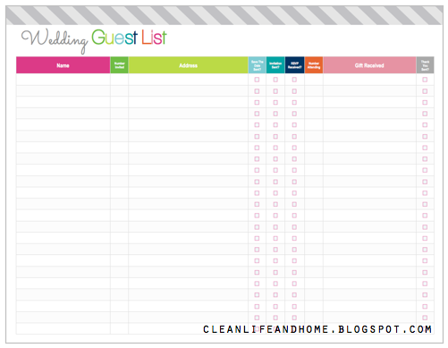 Clean Life And Home: Freebie Friday: Printable Wedding Guest List