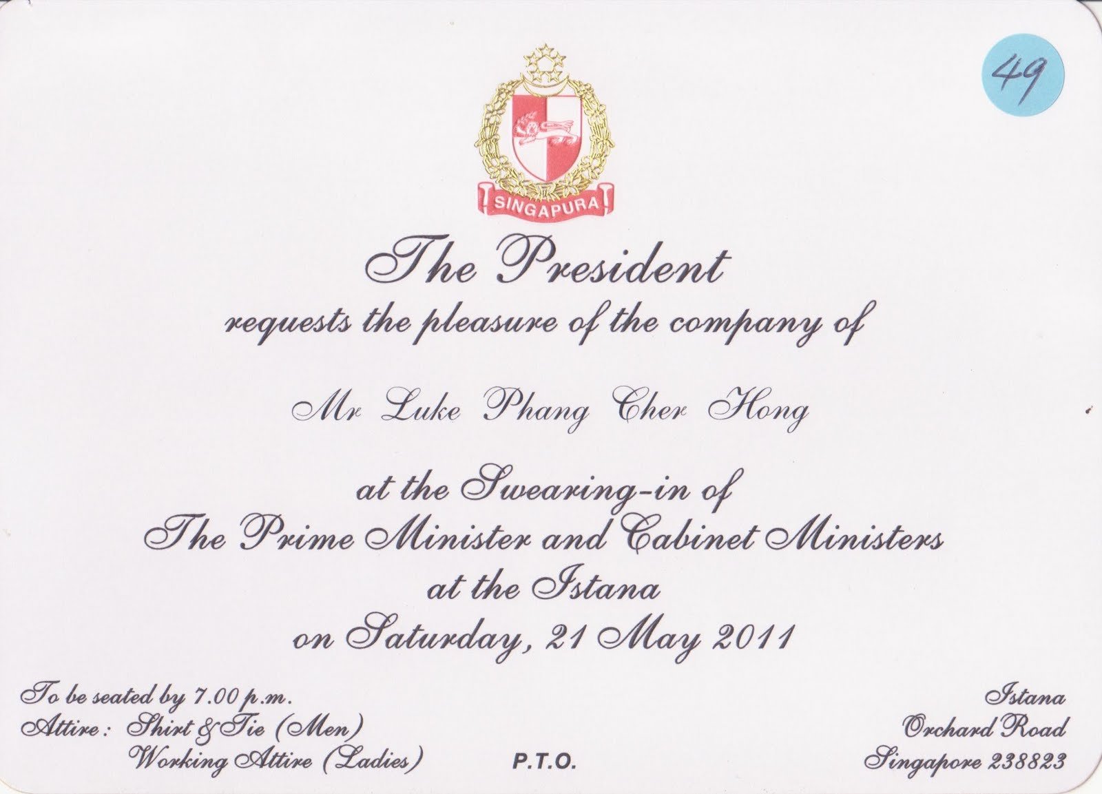 Singapore cabinet swearing in ceremony the invitation card stopboris Gallery