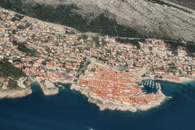 Foto desde el avión de Dubrovnik