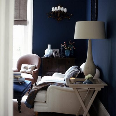 Site Blogspot  Dark Brown Furniture Living Room on The Deep Cobalt Walls Enclose The Space And Give It A Sense Of
