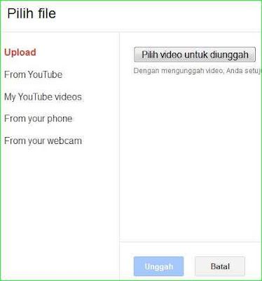 cara upload video ke blog