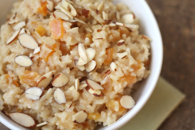 Apricot Brown Rice Pudding recipe by Barefeet In The Kitchen