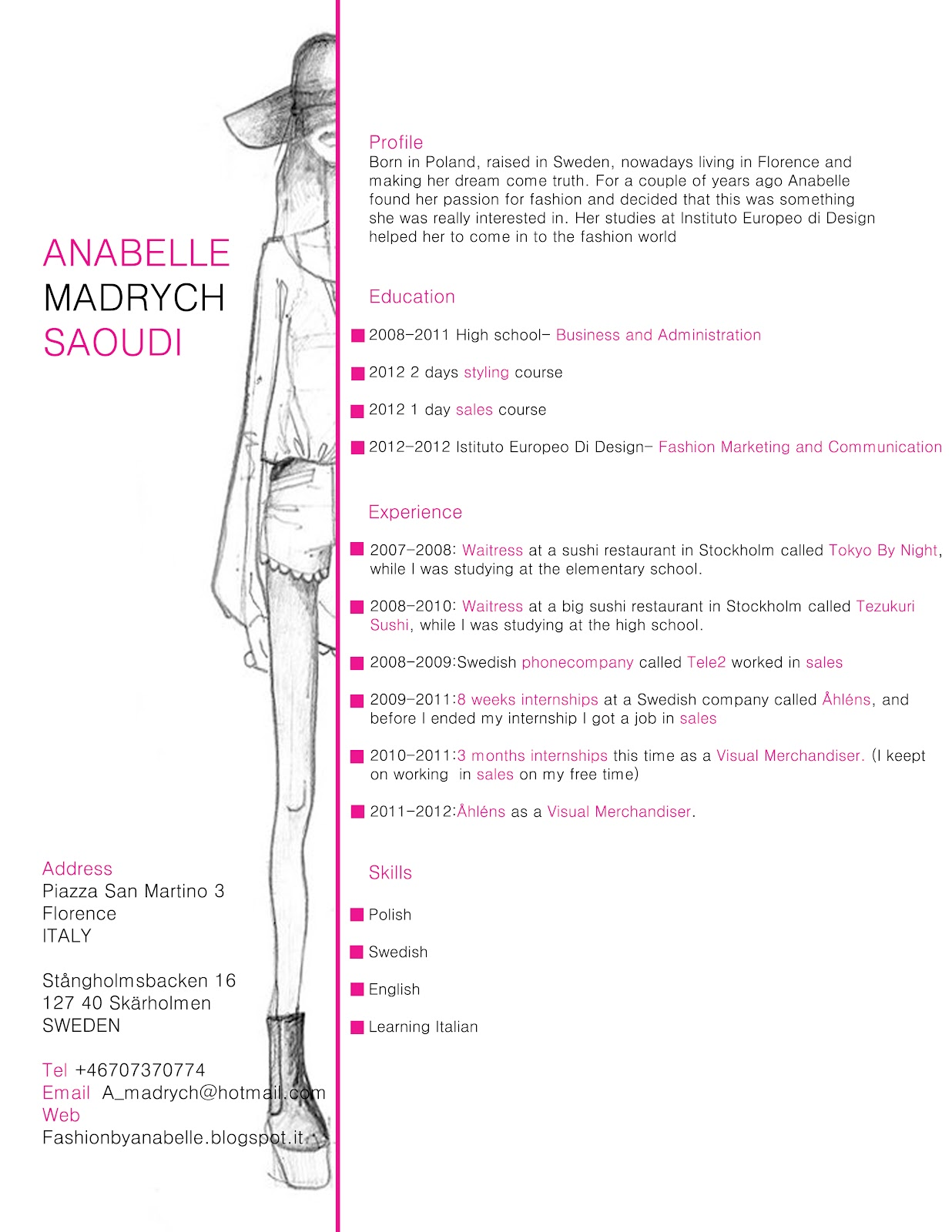 fashion by anabelle - Fashion Designer Resume Sample