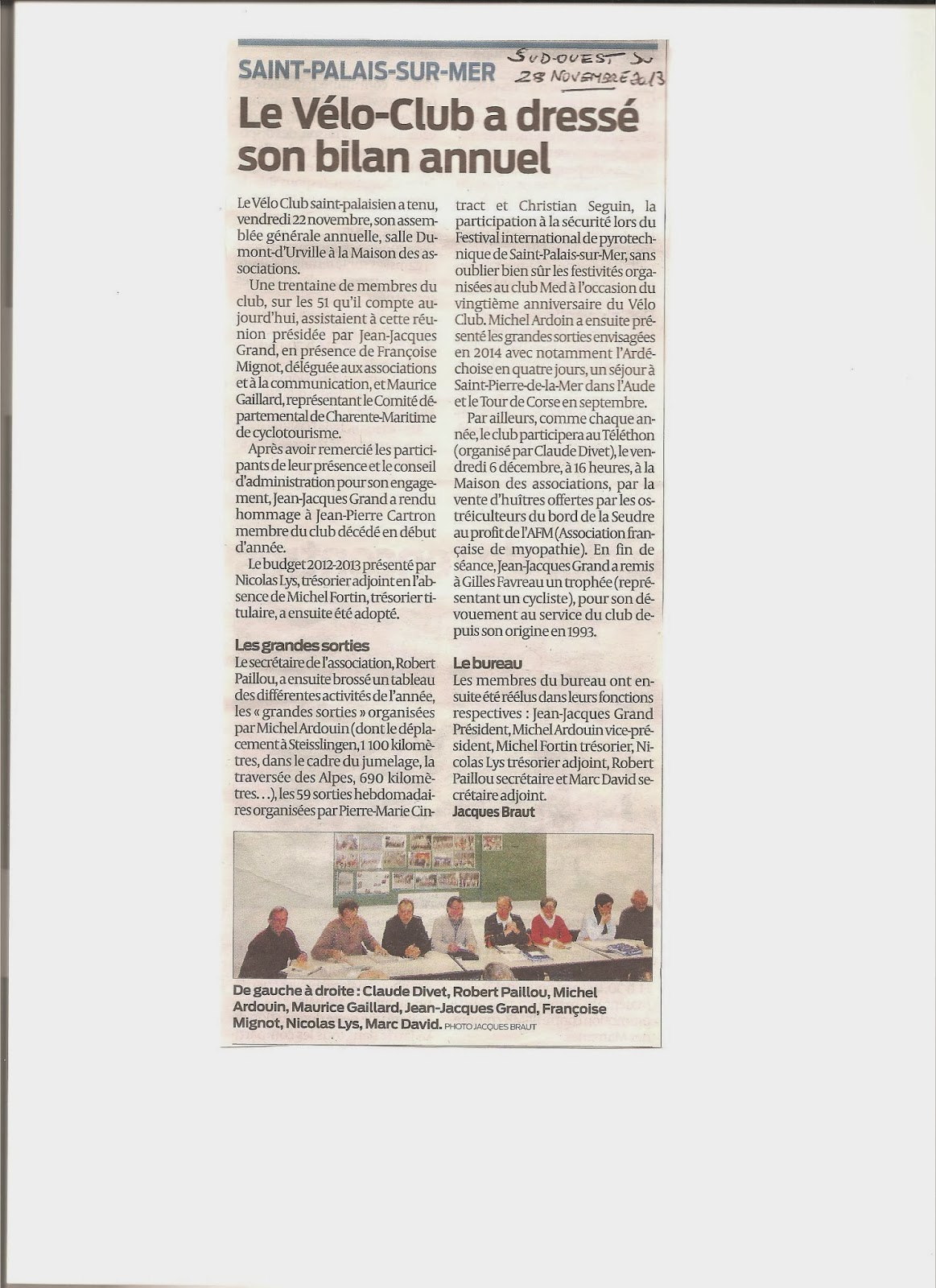 St palais v lo article dans le journal sud ouest - Table de capitalisation gazette du palais 2013 ...