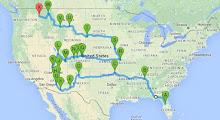 2016 Tour Route March-July