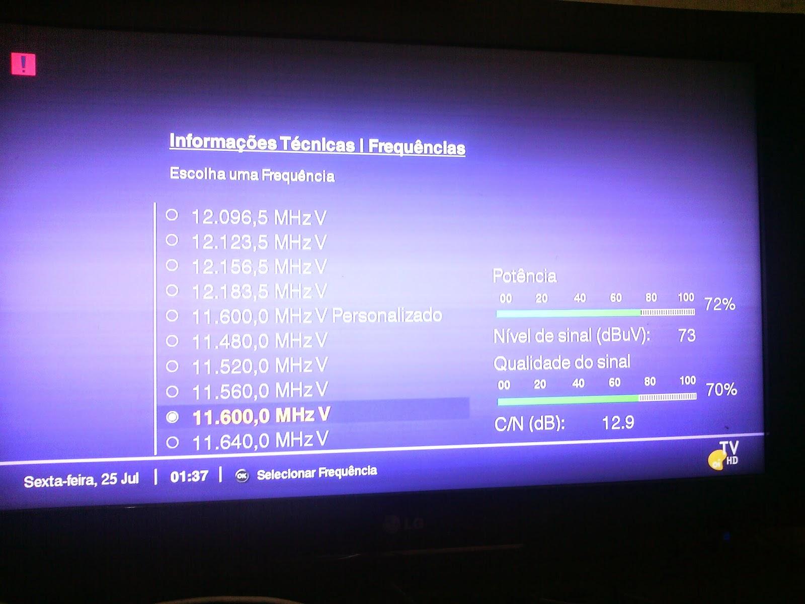 nível de sinal TP 11600 vertical satélite ses6