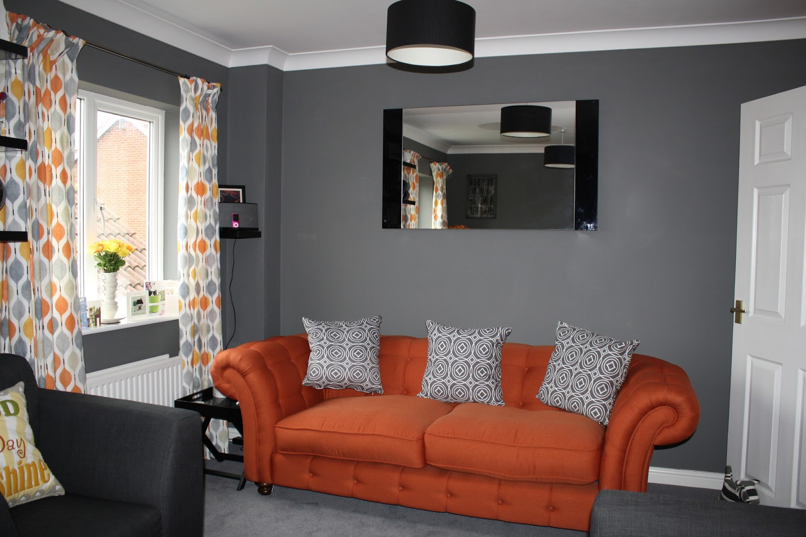 A million dresses uk fashion and lifestyle blog through for Grey orange living room