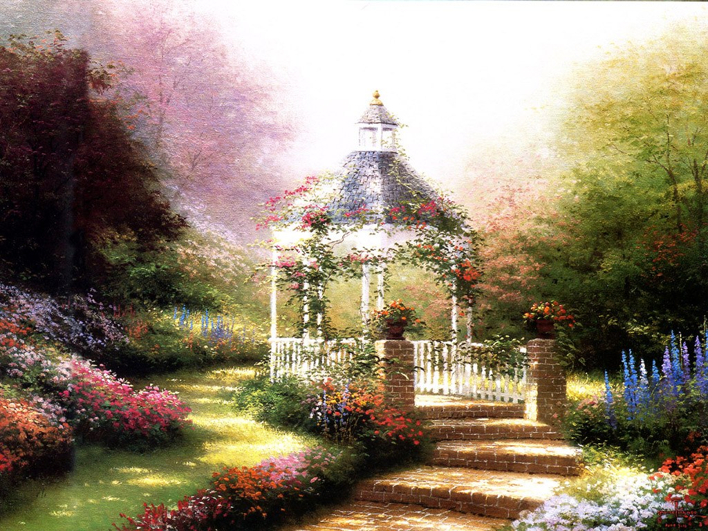 Art wednesday thomas kinkade for Garden painting images