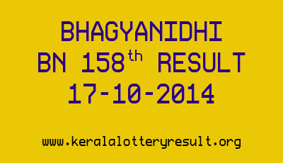 Bhagyanidhi Lottery BN 158 Lottery Result 17-10-2014