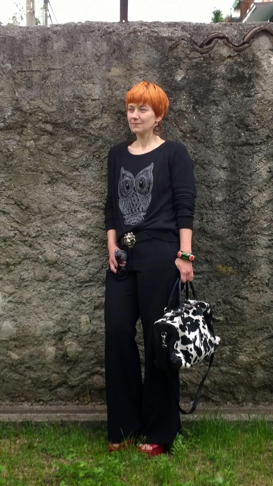 black wide leg pants & owl sweater