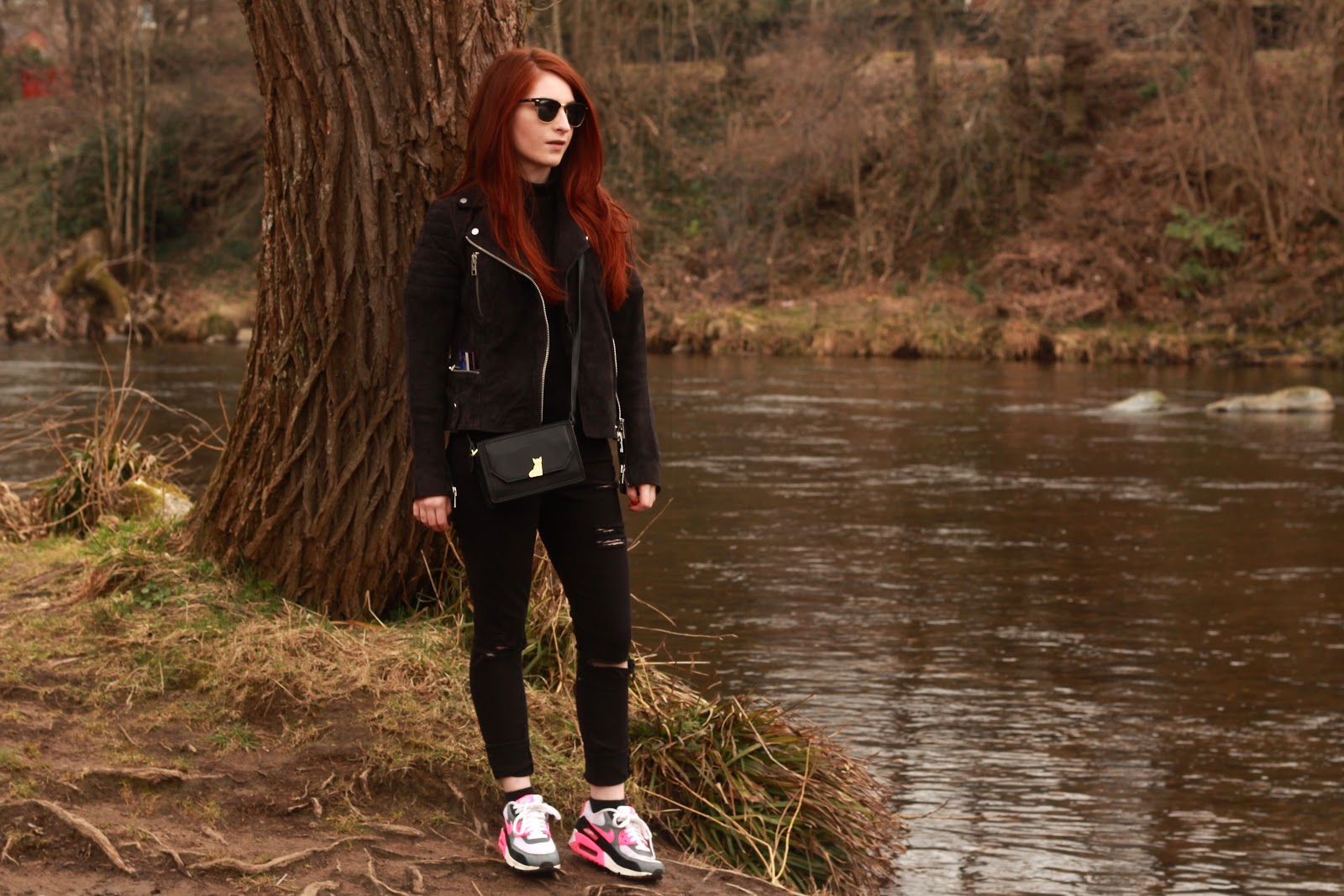 krystel couture, nike air max, asos ripped jeans, petitie jeans, rayban clubmasters,