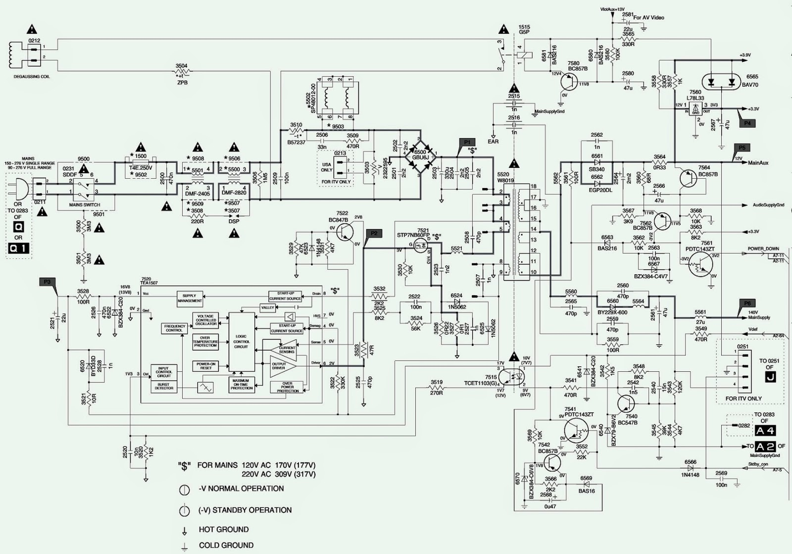 philips magnavox  u2013 32st220p  u2013 27pt543  u2013 tv  u2013 power supply  smps  schematic