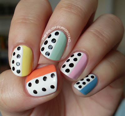 Pastel Skittles and Black & White Polka Dots