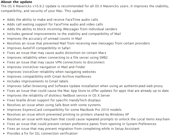 About OS X Mavericks v10.9.2 Update Change Log