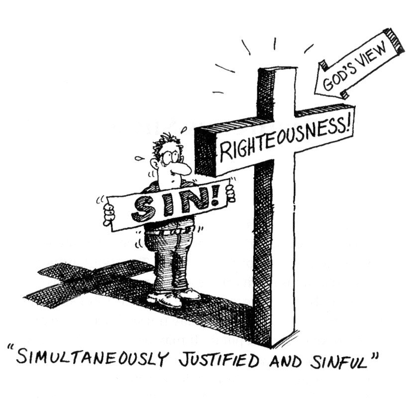 "A cartoon of a man sweating and trembling, holding a sign that says 'Sin!'. The man is standing in the shadow of the cross, with an arrow showing that from ""God's View,"" the man is hidden, because the man is standing behind the cross."