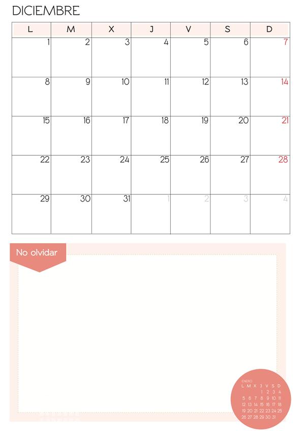 mes de diciembre 2014 para imprimir