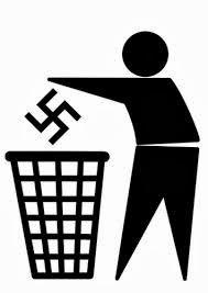 Liberdade- Pessoa jogando o nazismo no lixo