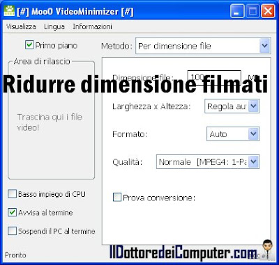 ridurre dimensione file video