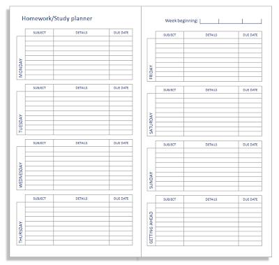 student homework planner template free