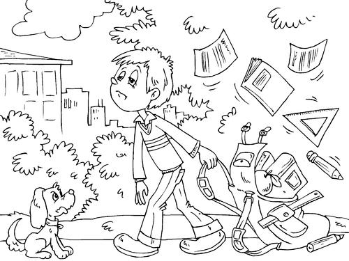 Niño sin ganas de ir a clases para colorear y pintar - Dibujo Views