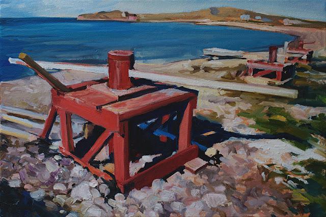 Landscape - Goineau - cabestanbs sur le plain, à l'Île.