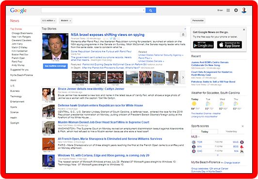 Main screen of Google News