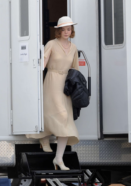 Actress, @ Elle Fanning - On set of 'Live by Night' in Los Angeles