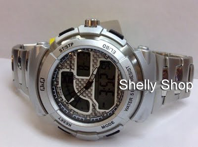 Shelly Shop Jam Tangan QampQ M012 Dual Time Analog Digital