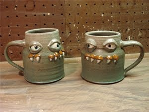 twin monster mugs
