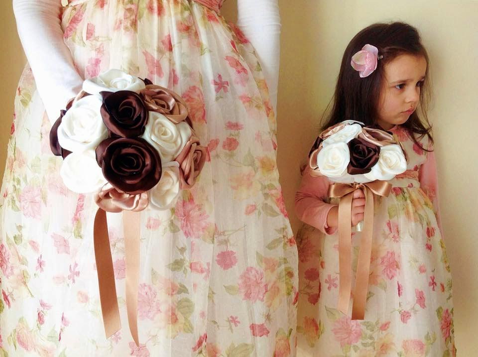 bouquets damas de honra tecido