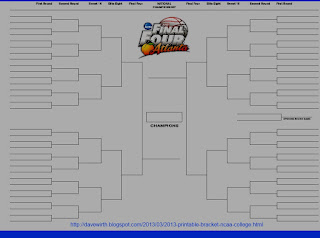 printable bracket, ncaa final four, 2013