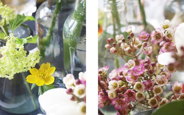Buketter i små vaser