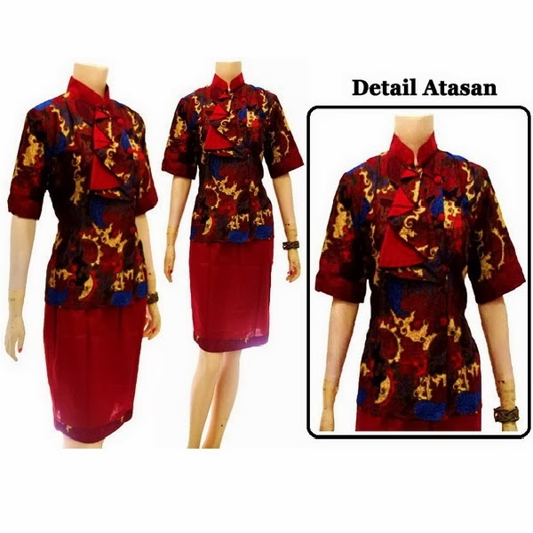 DB3712 Mode Baju Dress Batik Modern Terbaru 2014