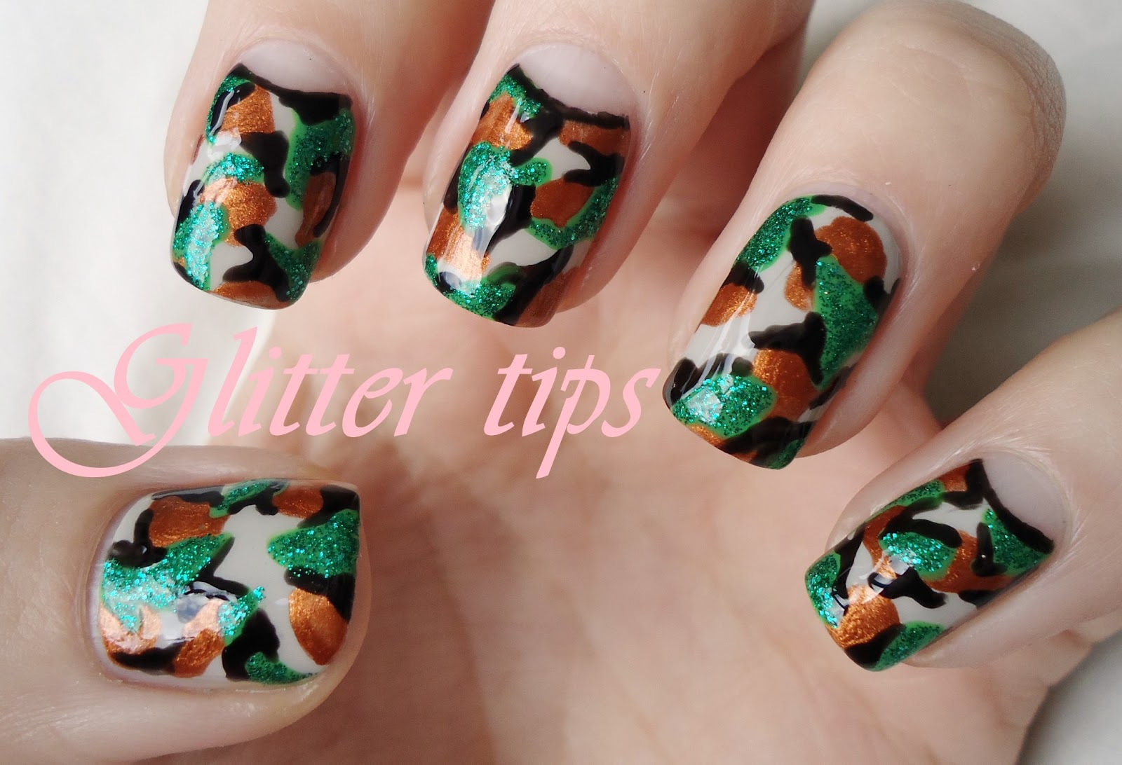Glitter tips camouflage nail art camouflage nail art prinsesfo Choice Image
