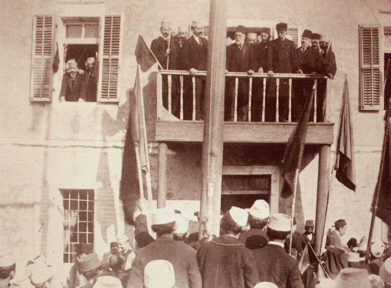 Ismail Qemali on the first anniversary of the session of the Assembly of Vlorë which proclaimed the independence of Albania.