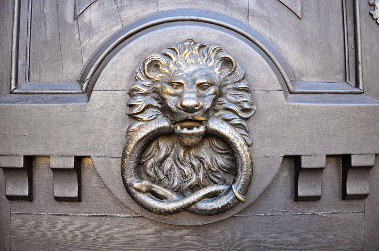 A lion's head holding a snake in its jaws door knocker as seen in Padova, Italy