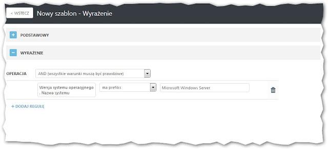 """Reguła uwzględniająca wyrażenie """"Microsoft Windows Server"""" w nazwach systemów operacyjnych"""