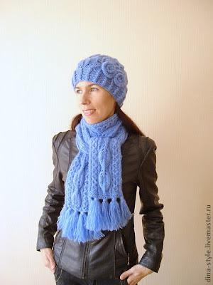 Женские вязаные шапки и шарфы производства италии