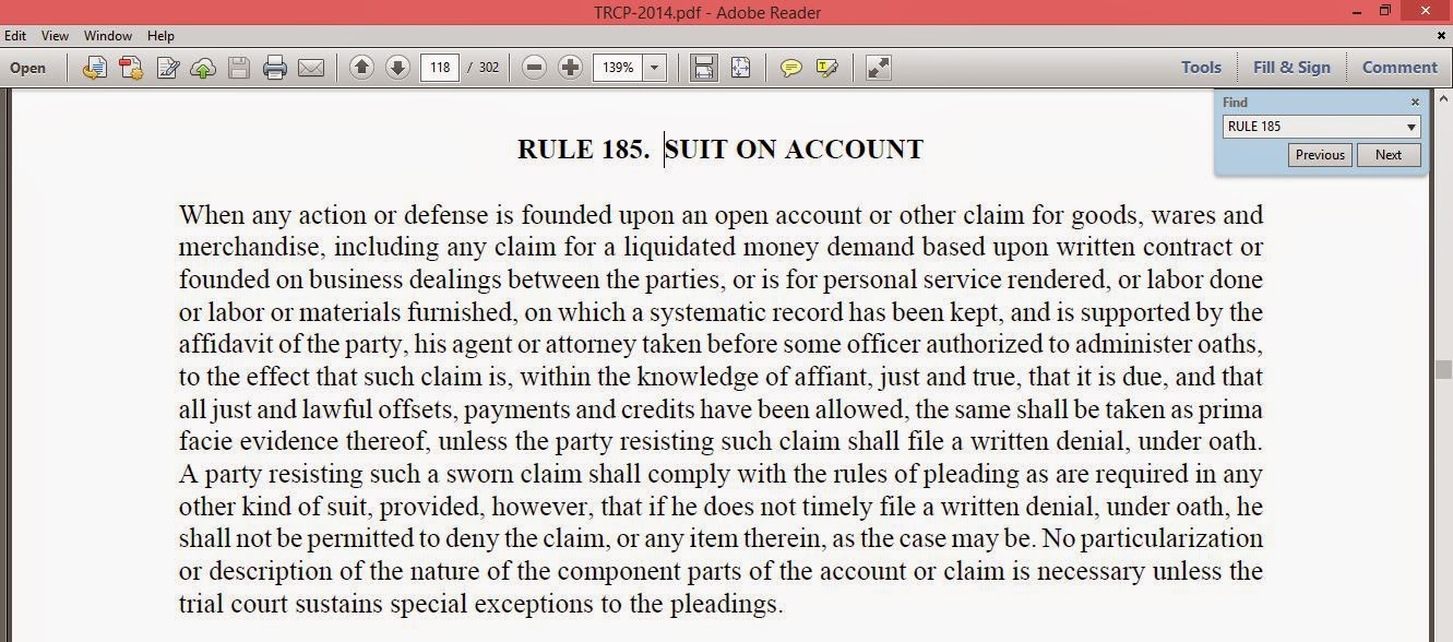COA.TX: Sworn Account suit requires more than a verified general ...