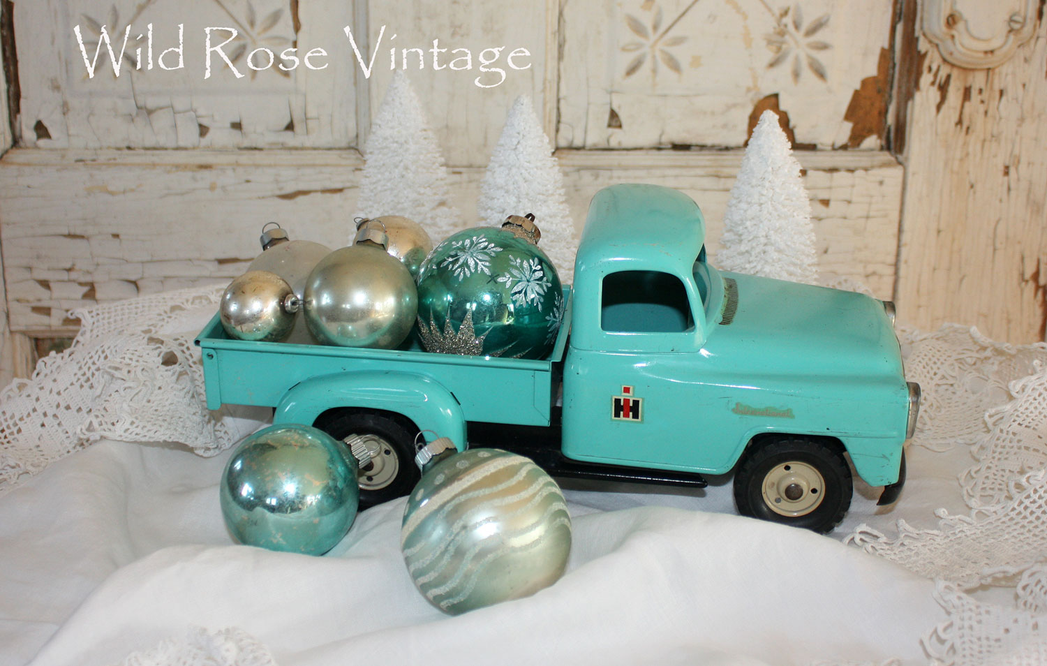 Superb Vintage Toy Trucks Part - 11: I Love This Old Aqua Truck...Mr. Wild Found It In His Stuff In The Basement  So I Cleaned It Up A Little And Filled It With Vintage Glass Balls.